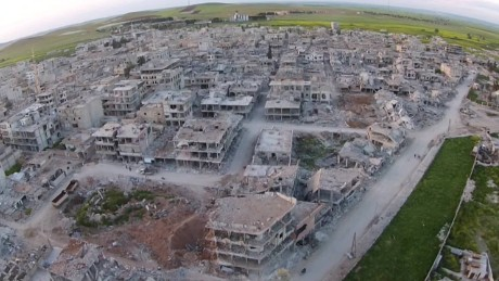 Drone video shows devastation of Syrian town