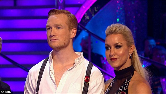 Second time around:Greg meanwhile looked relatively calm ahead of his debut dance off, telling Tess 'we'll hopefully get through any of the mistakes we had during the first try'
