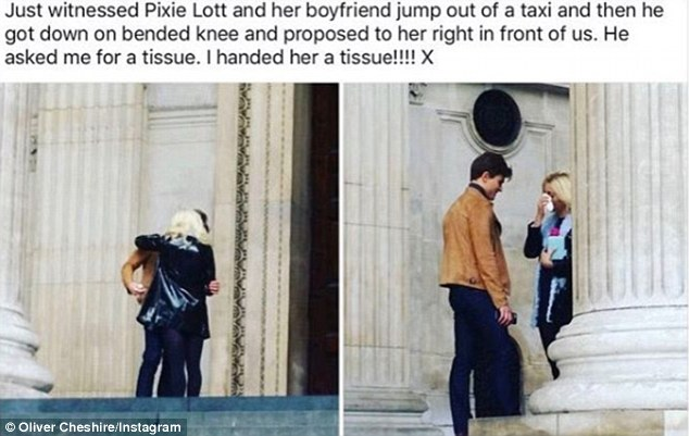 Spotted! Meanwhile, Oliver joked that he'd been 'caught in the act' after a fan spotted the romantic moment, with Pixie seen wiping away tears of joy in the pics which he reposted on Instagram