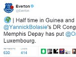 Everton's official Twitter account posted an update on Depay during the international break