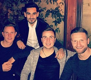Germany stars enjoy dinner in Rome following their eight goal thrashing of San Marino