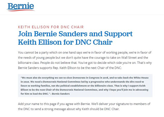 Sanders (pictured, his website) said Ellison was 'someone who would be enormously effective in leading the Democratic Party against President Donald Trump'