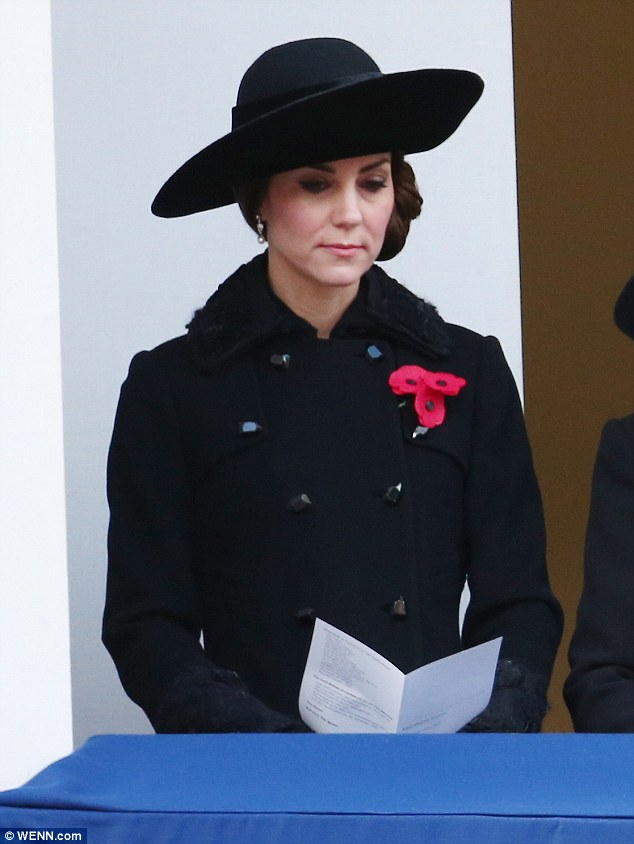 The Duchess of Cambridge, 34, matched her outfit to the mood on Remembrance Sunday as she dressed in a black Diane von Furstenberg coat to remember the fallen at the Cenotaph