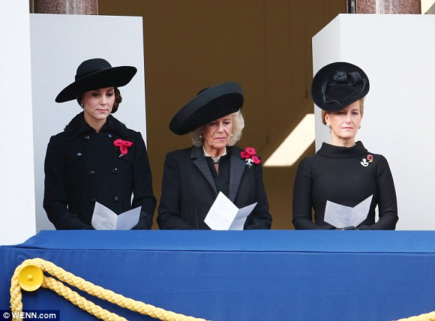 The Duchess of Cambridge joined Camilla, Duchess of Cornwall, and Sophie, Countess of Wessex, on the balcony to pay tribute