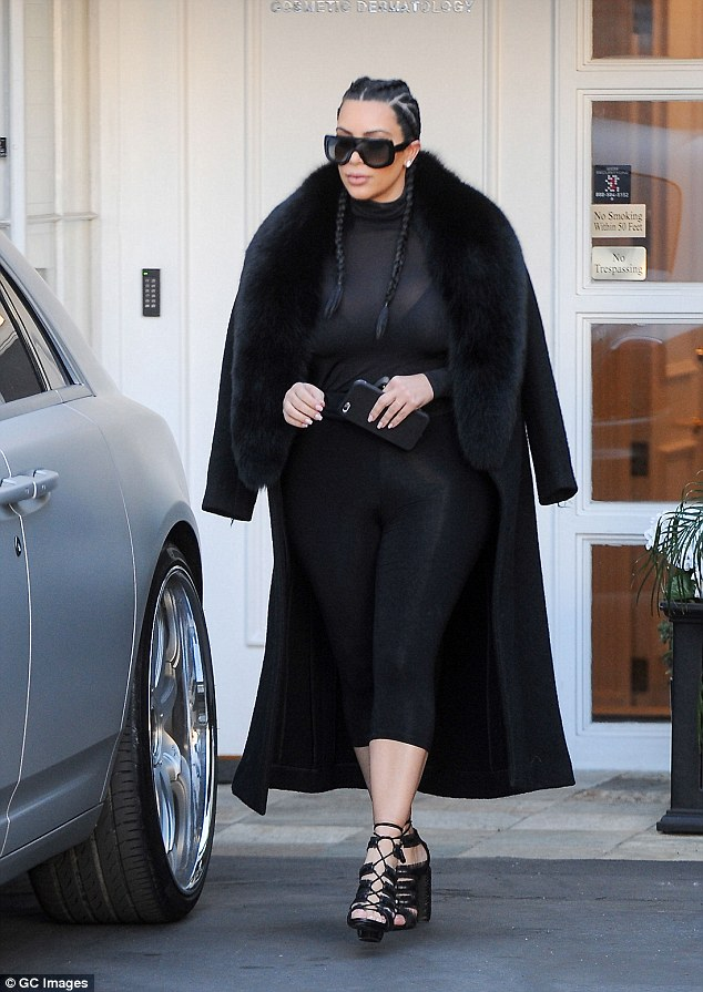 Post baby: Kim is seen back in February this year
