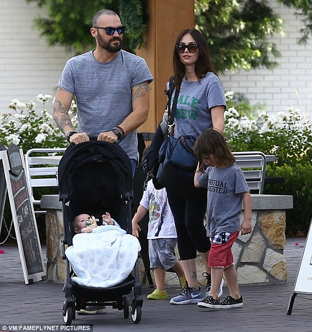 Family outing: Megan Fox and Brian Austin Green took their three sons out for the day on Saturday in Ventura County,north of Los Angeles
