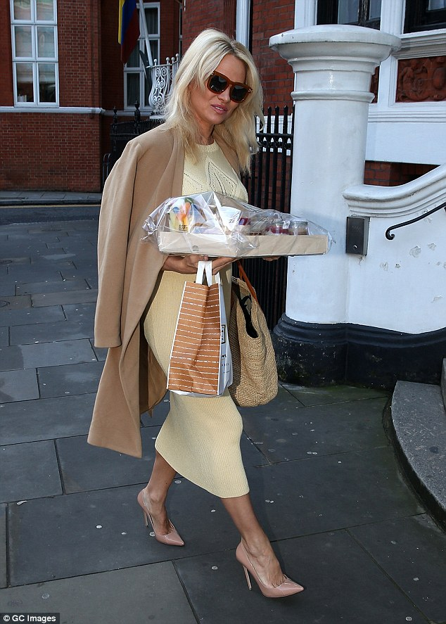 How thoughtful: Pamela Anderson, 49, visited WikiLeaks founder Julian Assange at theEcuadorian embassy laden with snacks