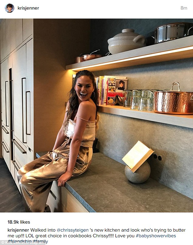 Looking good: Kris shared an Instagram picture of Chrissy as she posed in her kitchen