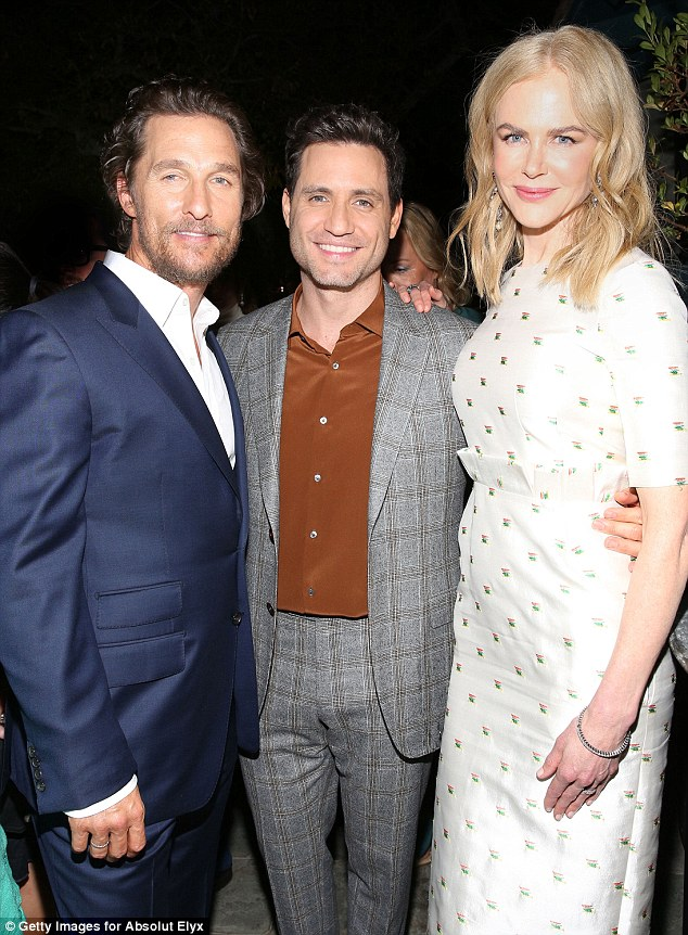 Trio: The Dallas Buyers club star posed with his Gold colleagueÉdgar Ramírez as well as with Nicole Kidman