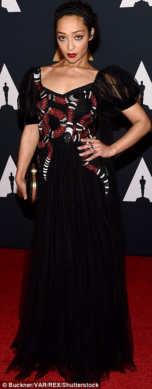 Bright: Actress Ruth Negga sported a dress featuring a snake design while the CEO of the Academy Of Motion Picture Arts and Sciences Dawn Hudson wore an all red look