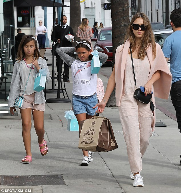 Out and about:Of course thanks to her natural beauty, minimal make-up is always an option for Jessica, which she proved during an outing earlier in the day with her two daughters Honor and Haven