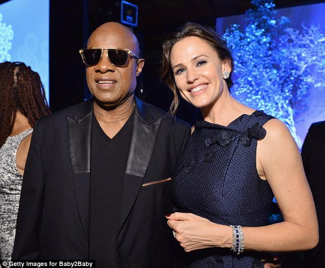 Isn't she lovely: Jennifer was also spotted with Stevie Wonder
