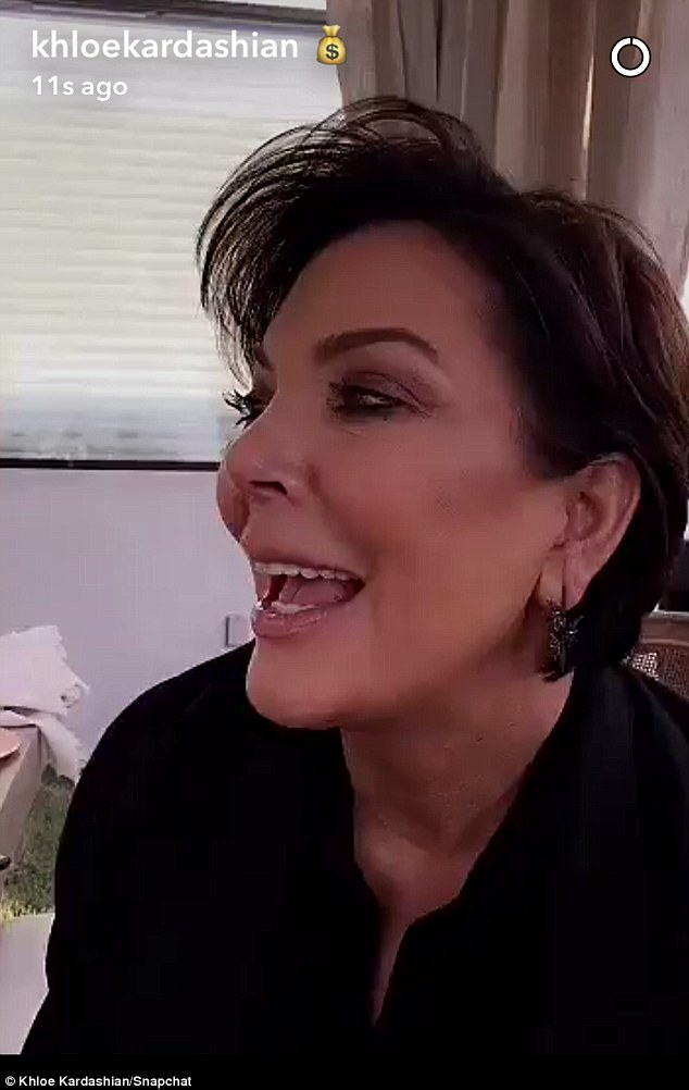 Having a good time: The Keeping up With The Kardashians matriarch seemed in high spirits as daughter Khloe shot video of her for Snapchat