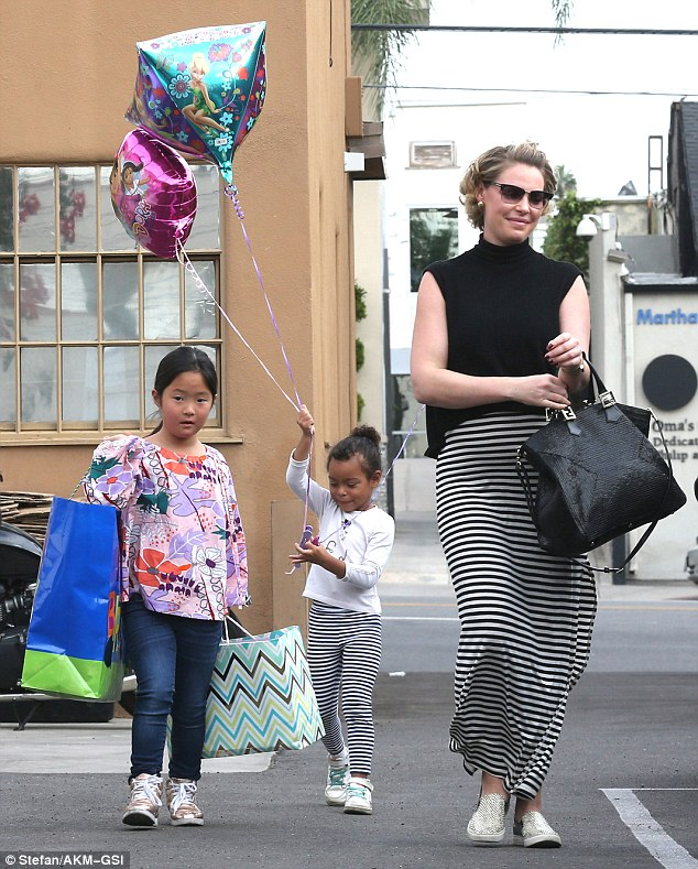 Growing family: The Grey's Anatomy alum was joined by her two daughtersNaleigh, seven, and Adalaide, four