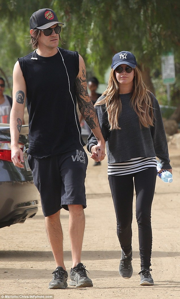 Hand in hand: Ashley Tisdale and hubby Christopher French went walking in Runyon Canyon, a celeb favorite for getting out into the fresh air and working up a sweat