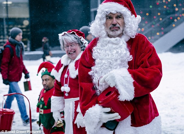 'Tis the season! The rude and raunchy flick also features Tony Cox (L), Kathy Bates (M), Billy Bob Thornton (R), Octavia Spencer, and Brett Kelly