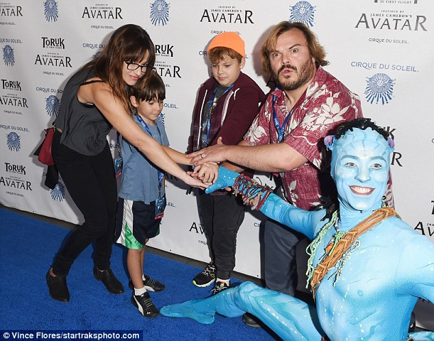 Fun for all:Another star enjoying a family night out was Jack Black, who came with woife Tanya Haden and their sons Sammy and Tom
