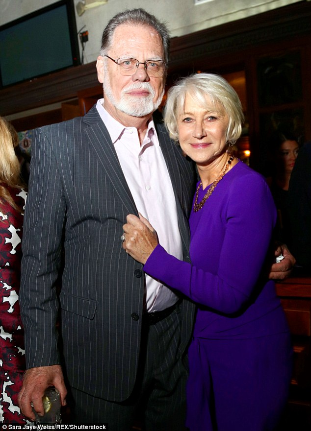 Still going strong: Helen Mirren and Taylor Hackford, both 71,looked cosier as ever as they arrived at the premiere of his new film The Comedian in LA on Friday night