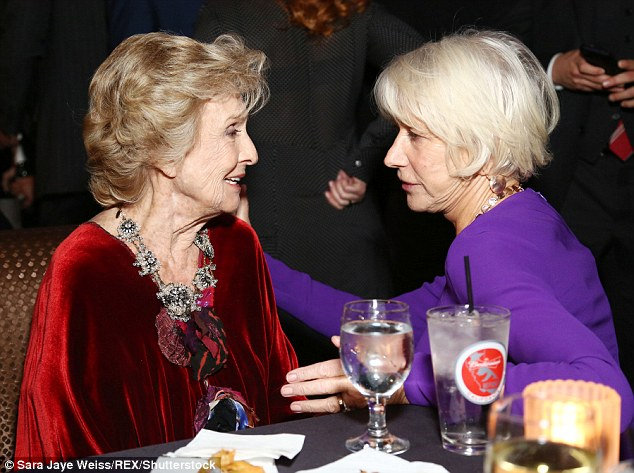 Star-studded:Stepping back to let her husband lap up the glory of his hard work, Helen was  seen chatting animatedly to actress Cloris Leachman (left)