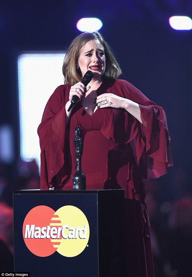 Emotional: Adele was brought to tears when she picked up the trophy