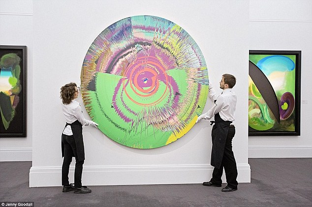 Of the lots sold, a collaborative spin painting by Bowie and Damien Hirst called Beautiful, hallo, space-boy painting, sold for more than double its estimate at £785,000