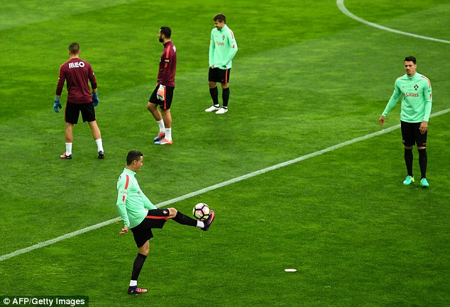 The Portugal captain appeared in high spirits on Saturday as he juggled the ball on his own