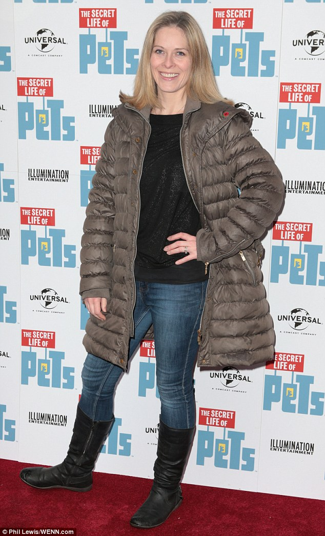 Weathering the storm: Weather presenterKirsty McCabe had dressed appropriately for the chill in a padded brown jacket and skinny jeans