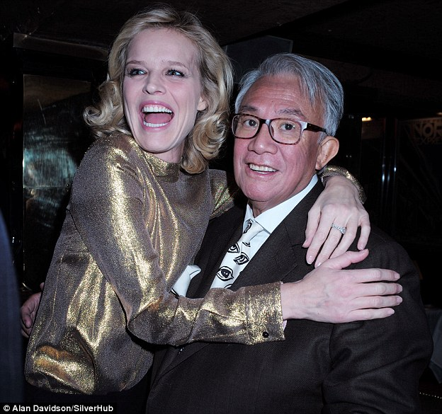 Man of the hour: Eva Herzigova and David Tang at the book launch at Annabel's, London