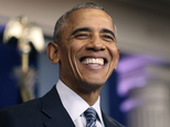 President Barack Obama smiles during a news conference in the Brady press briefing room at the White House in Washington, Monday, Nov. 14, 2016. (AP Photo/Andrew Harnik)