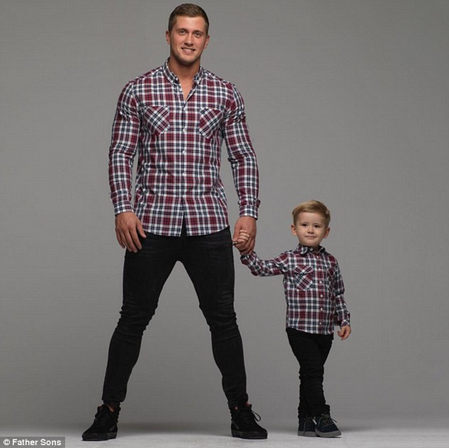 Chip off the old block: It would appear the apple has not fallen far from the tree as doting Dan Osborne poses alongside his oldest child Teddy in a series of new promotional shots on behalf of menswear brand Father Sons