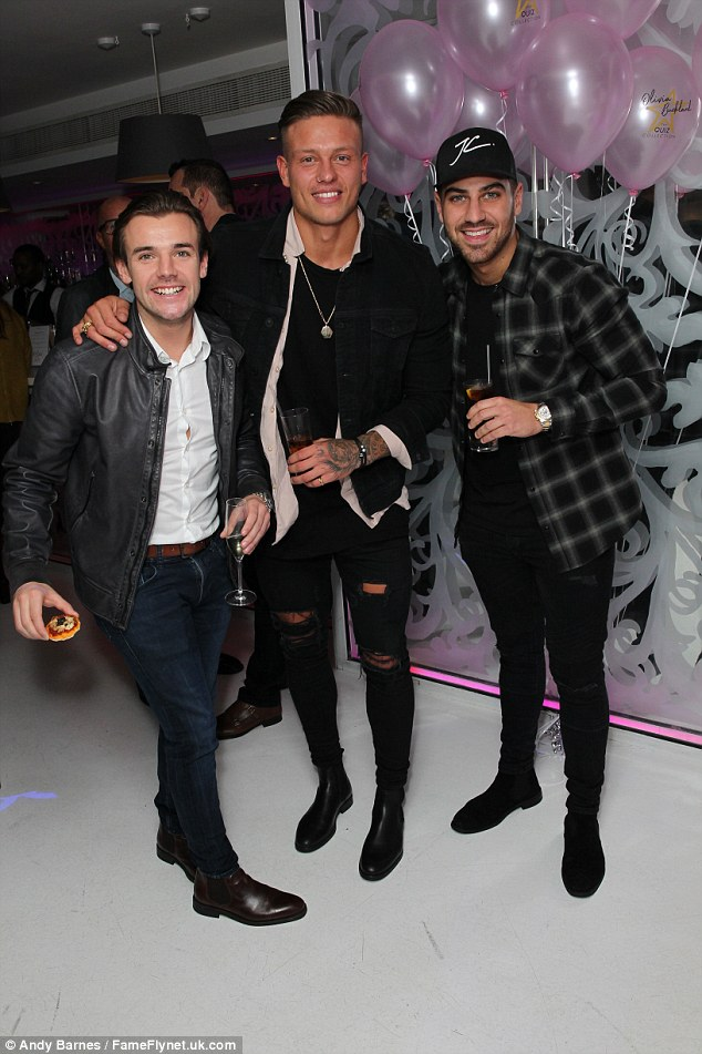 Here come the boys: Alex looked happy to be reunited with Love Island buddiesNathan Massey and Jon Clark