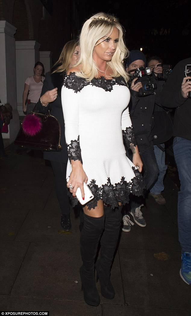 Joining the party: Katie Price was spotted heading to Vanilla to join the fun