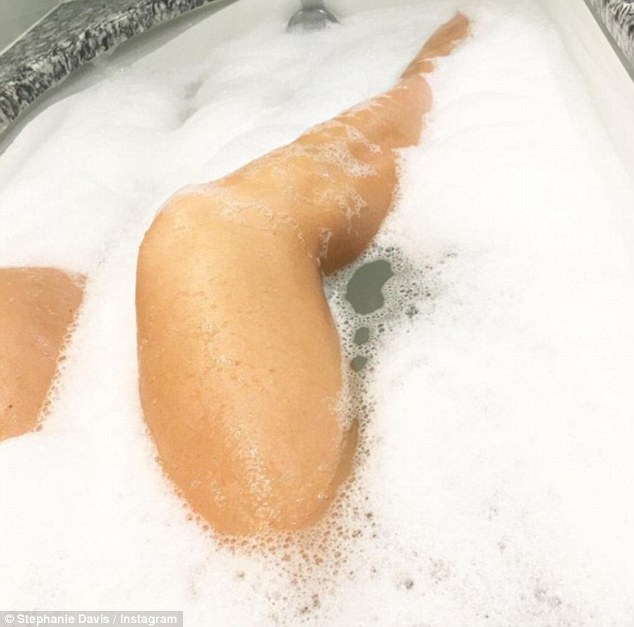 'Happy baba Happy Mummy':Stephanie seems to doing just fine as a single mum-to-be and on Tuesday she shared a snap of herself soaking in a warm bubble bath