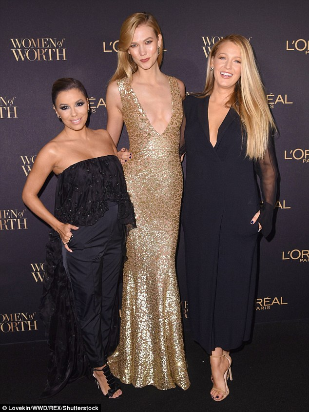 Three's company! The mother of two was joined by Karlie Kloss and Eva Longoria