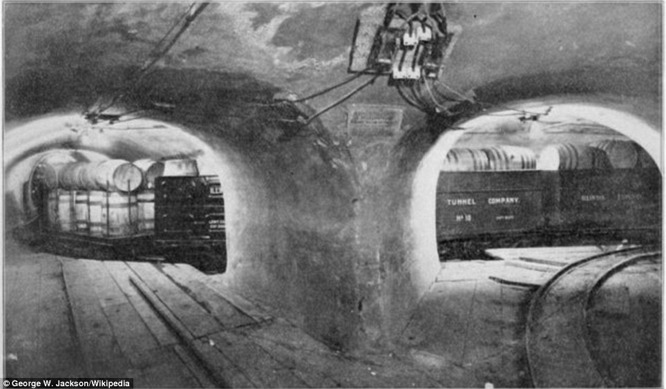 Chicago: The Illinois Telephone and Telegraph built the first 26 miles of this concrete tunnel by 1905. But the Illinois Tunnel Company which took over, building another 60 miles, went bankrupt in 1909 and construction stopped