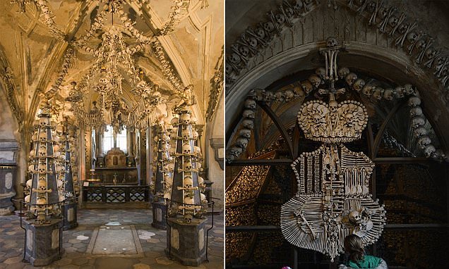 Inside Czech Republic's 'Skull Church' made up of over 70k skeletons
