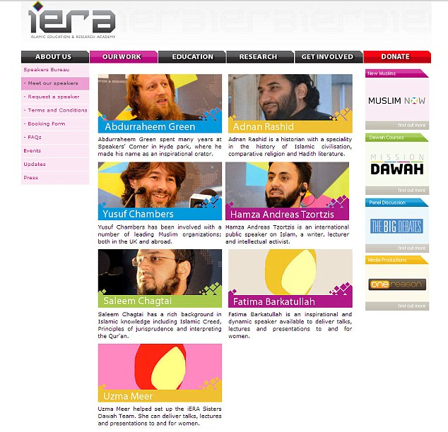A page from iERA's website has photographs of its male speakers but none for the female speakers