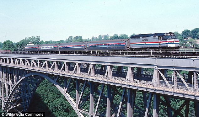 Thwarted: The suspects were allegedly planning to derail a passenger train as it cross the Niagara River on the Whirlpool Rapids Bridge (pictured)