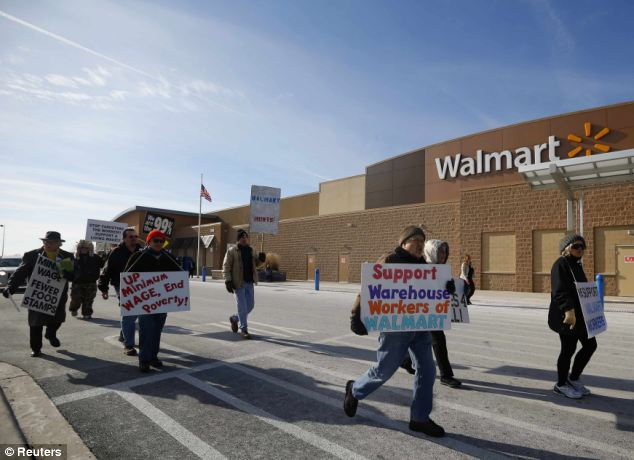 Anger: The group is part of a national campaign against the low wages at the store
