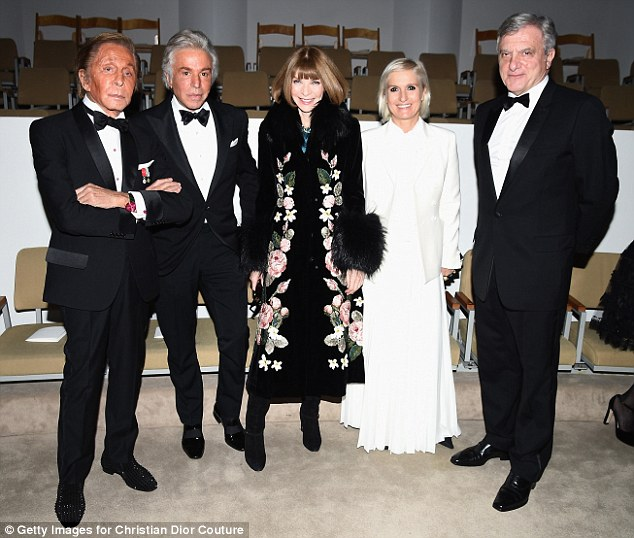 Titans: They too were joined by some of the most important figures in fashion, including (L-R) Valentino Garavani and partner Giancarlo Giammetti, designer Maria Grazia Chiuri,Vogue editor Anna Wintour, and Dior CEO Toledano