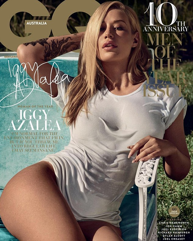 Nothing else to wear? On Thursday, Iggy Azalea revealed her raunchy cover for GQ Australia, which shows the rapper sunning herself outside wearing nothing but a see-through wet T-shirt