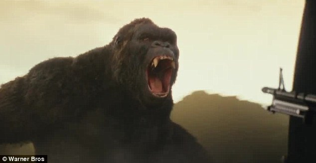 The King: Fans goth their first clear look at the Kong in the new trailer for Skull Island released on Wednesday