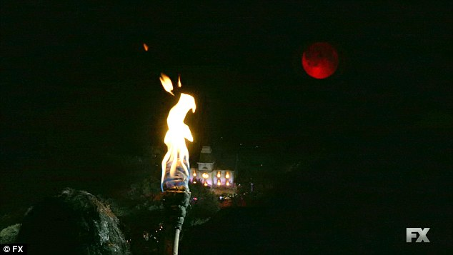 High above: The Butcher from high above watched the house burn down under a Blood Moon