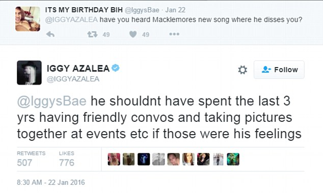 Hurt: Iggy was offended by what she saw as a two-faced move by the US rapper