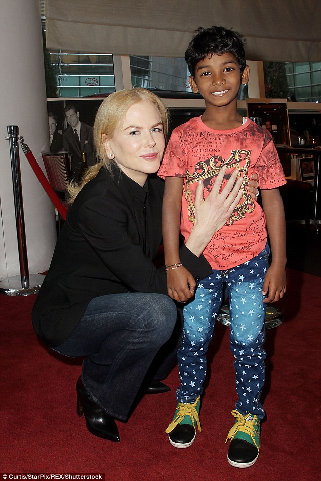 She's a natural: Nicole Kidman was dressed down and relaxed with her co-star Sunny Pawar in NYC on Wednesday