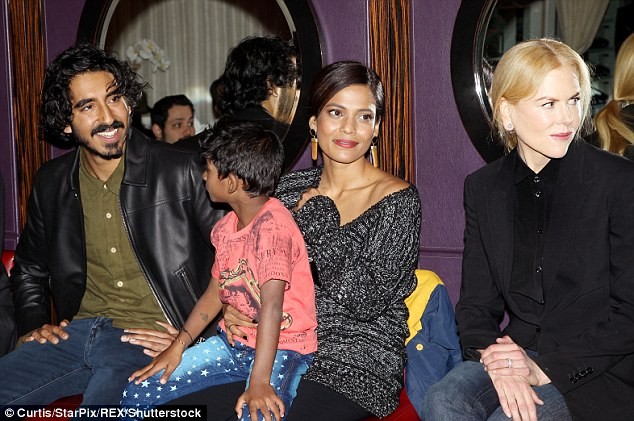 Starring role: Dev was sporting facial hair as he chatted with Sunny, Priyanka and Nicole