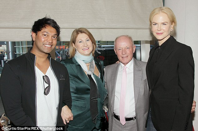 True story: The film is based on the life story of Saroo Brierley who was also in attendance, with his adopted patents Sue and John Brierley - as they posed with Nicole