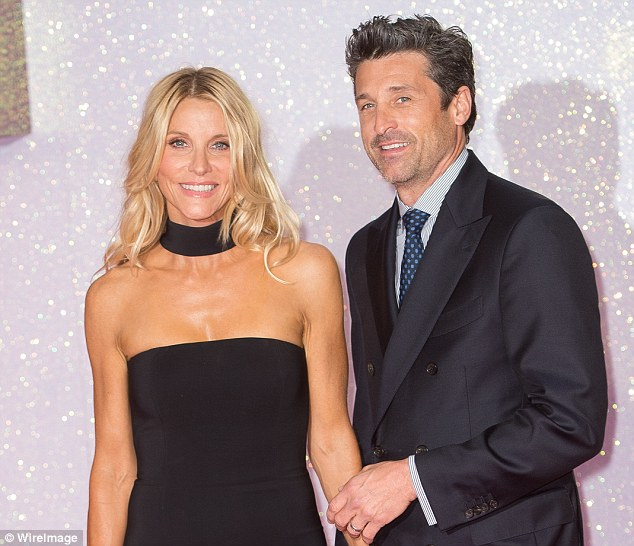 Get frisky: Patrick revealed he finds Jillian 'very sexy and very hot' when she's behind the wheel of her Porsche Targa. They're pictured in September at the London premiere of Bridget Jones's Baby