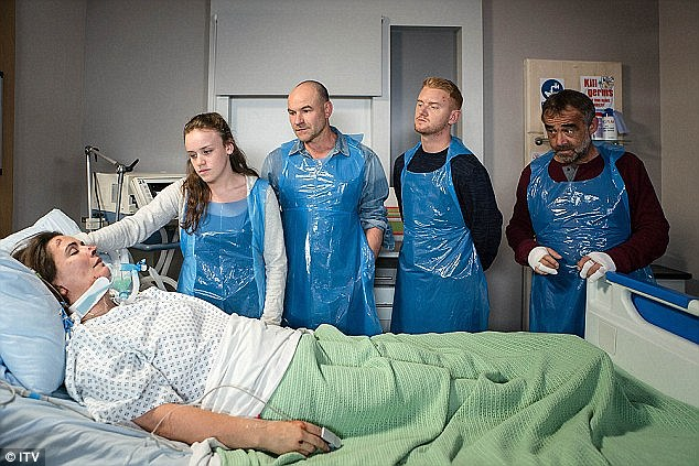 Tense scenes: Anna's future was uncertain as she layunconscious in hospital in the aftermath of the dramatic explosion, but has been released this week
