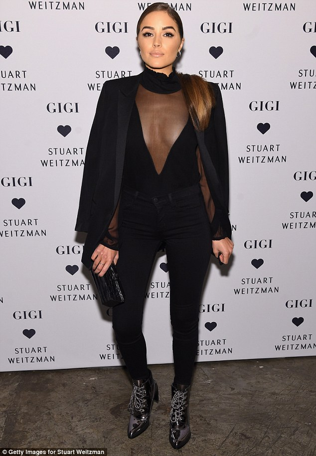 The woman in black: Olivia Culpo was a showstopper when she attended Stuart Weitzman's Launch Of The Gigi Boot in New York City on Wednesday